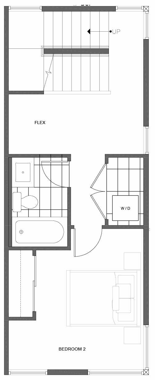 Second Floor Plan of 1806 E Spruce St, in the Opal Rowhomes of the Cabochon Collection