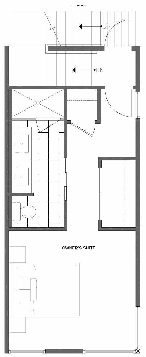 Third Floor Plan of 1806 E Spruce St, in the Opal Rowhomes of the Cabochon Collection