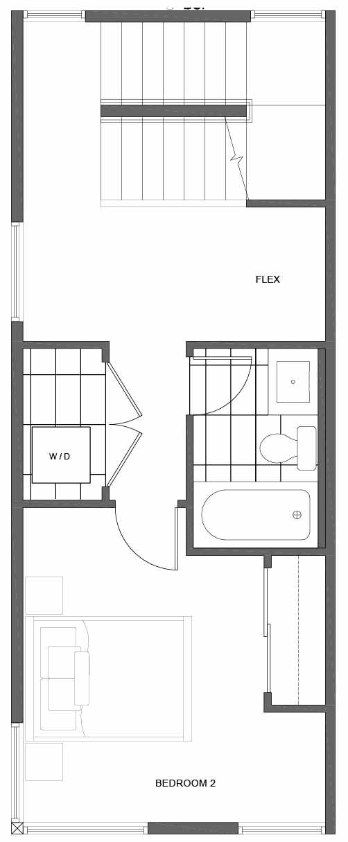 Second Floor Plan of 1808 E Spruce St, in the Opal Rowhomes of the Cabochon Collection