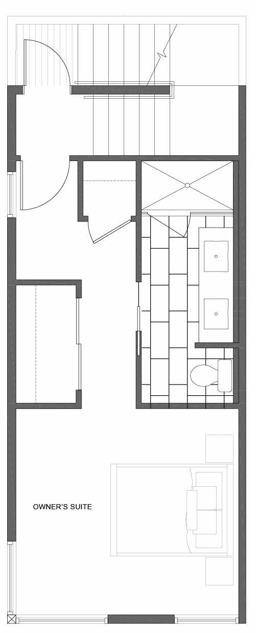 Third Floor Plan of 1808 E Spruce St, in the Opal Rowhomes of the Cabochon Collection