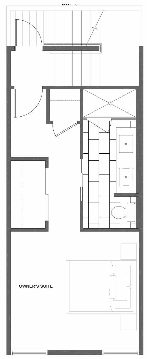 Third Floor Plan of 1810 E Spruce St, in the Opal Rowhomes of the Cabochon Collection