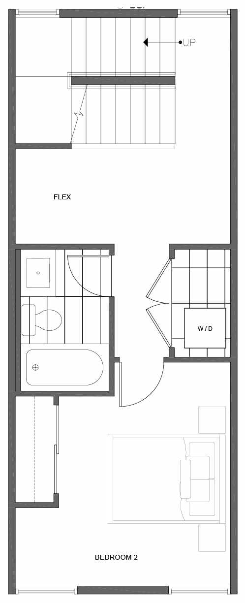 Second Floor Plan of 1812 E Spruce St, in the Opal Rowhomes of the Cabochon Collection