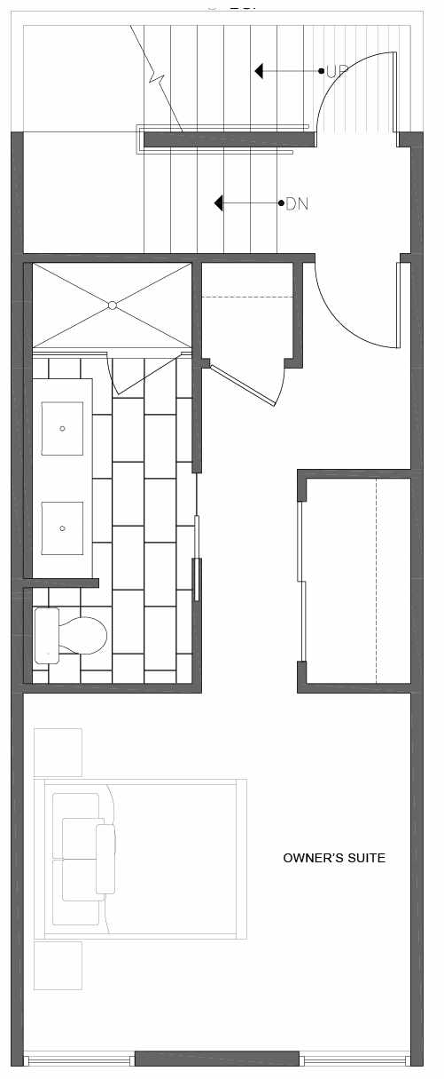 Third Floor Plan of 1812 E Spruce St, in the Opal Rowhomes of the Cabochon Collection