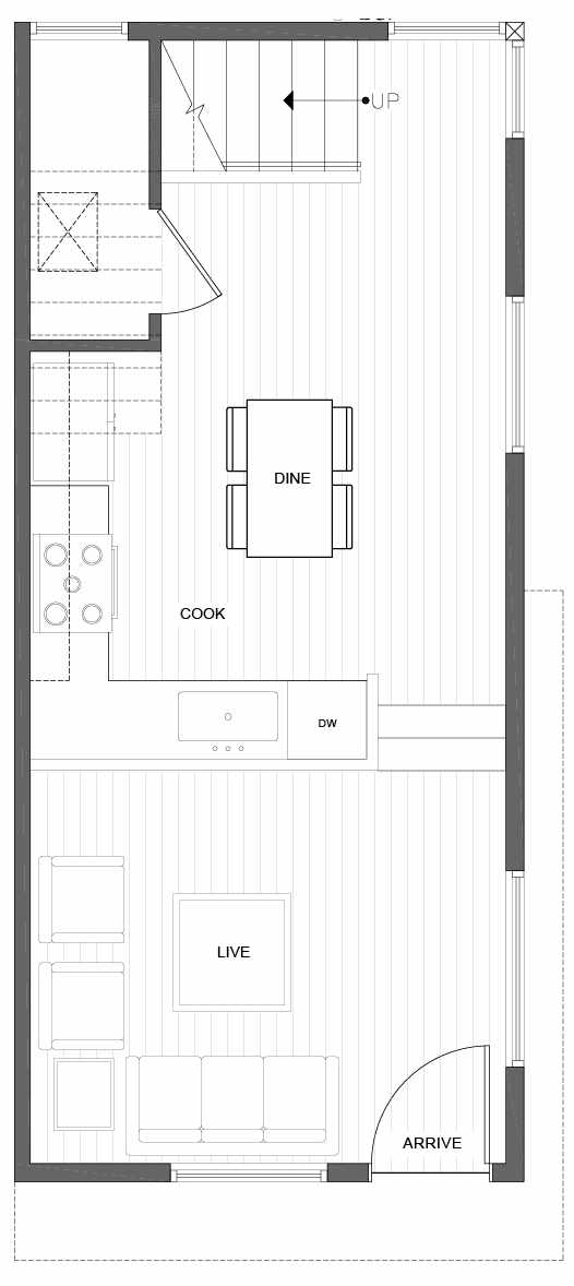 First Floor Plan of 1816 E Spruce St, in the Opal Rowhomes of the Cabochon Collection
