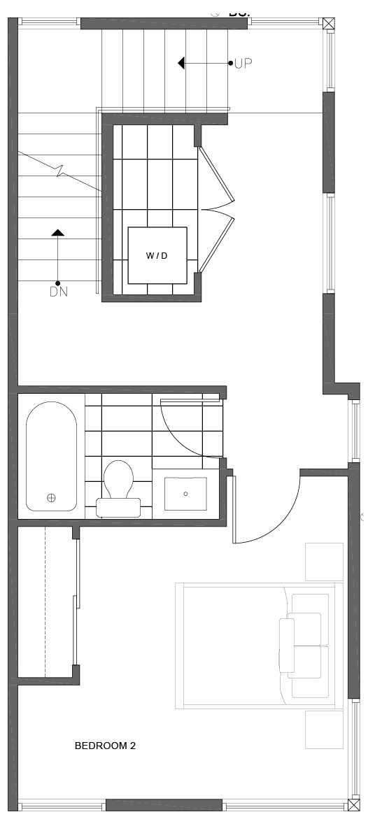 Second Floor Plan of 1816 E Spruce St, in the Opal Rowhomes of the Cabochon Collection