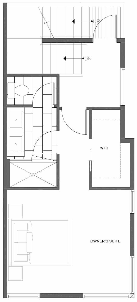 Third Floor Plan of 1816 E Spruce St, in the Opal Rowhomes of the Cabochon Collection