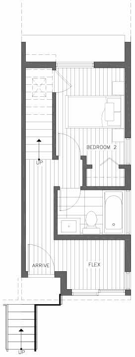 First Floor Plan of 201F 23rd Ave E, a 6 Central Townhome by Isola Homes