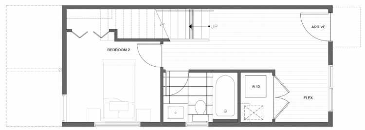 First Floor Plan of 212A 18th Ave, One of the Amber Townhomes in Cabochon Collection