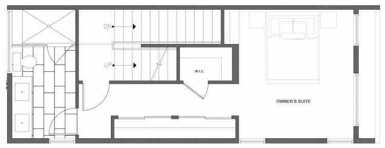 Third Floor Plan of 212A 18th Ave, One of the Amber Townhomes in Cabochon Collection