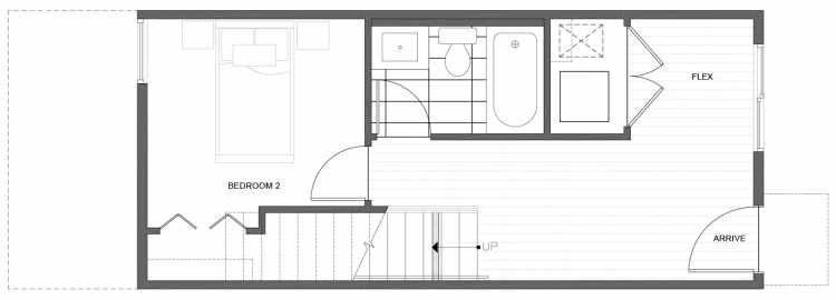 First Floor Plan of 212C 18th Ave, One of the Amber Townhomes in Cabochon Collection
