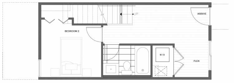 First Floor Plan of 212D 18th Ave, One of the Amber Townhomes in Cabochon Collection