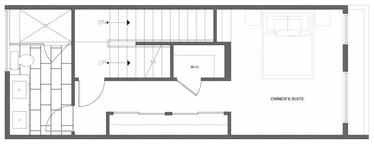 Third Floor Plan of 212B 18th Ave, One of the Amber Townhomes in Cabochon Collection