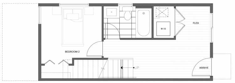 First Floor Plan of 212G 18th Ave, One of the Amber Townhomes in Cabochon Collection