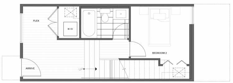 First Floor Plan of 216 18th Ave, One of the Jade Rowhomes of the Cabochon Collection in the Central District