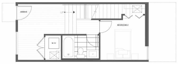 First Floor Plan of 218 18th Ave, One of the Jade Rowhomes of the Cabochon Collection in the Central District