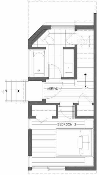 First Floor Plan of 2218 E John St, a 6 Central Townhome by Isola Homes