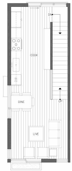 Second Floor Plan of 2218 E John St, a 6 Central Townhome by Isola Homes