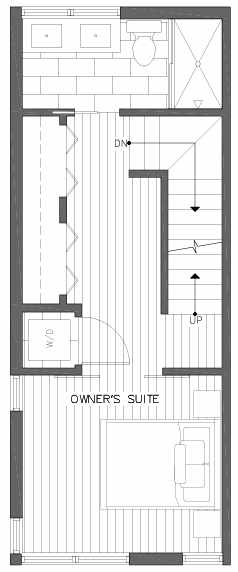 Third Floor Plan of 2218 E John St, a 6 Central Townhome by Isola Homes