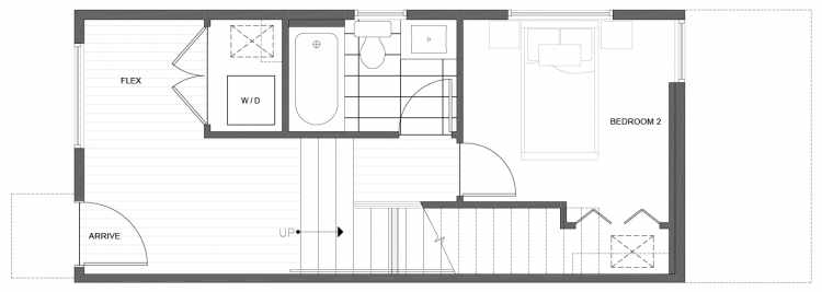 First Floor Plan of 224 18th Ave, One of the Jade Rowhomes of the Cabochon Collection in the Central District