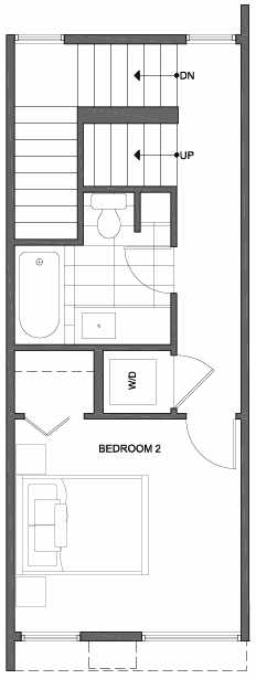 Second Floor Plan of 2304 W Emerson St, of the Walden Townhomes, by Isola Homes