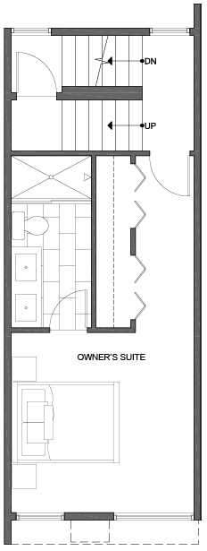 Third Floor Plan of 2302 W Emerson St, of the Walden Townhomes, by Isola Homes
