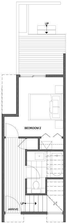 First Floor Plan of 2308 W Emerson St, of the Walden Townhomes, by Isola Homes