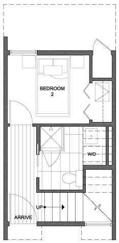 First Floor Plan of 2310 W Emerson St, of the Walden Townhomes, by Isola Homes