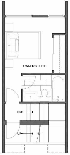 Third Floor Plan of 2310 W Emerson St, of the Walden Townhomes, by Isola Homes