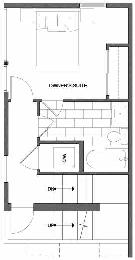 Third Floor Plan of 2312 W Emerson St, of the Walden Townhomes, by Isola Homes