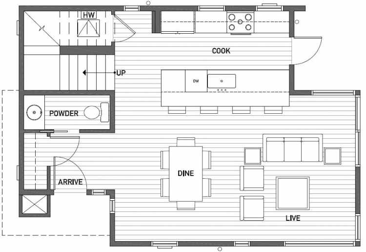 First Floor Plan of 2450 NW 64th St in the Ballard Neighborhood of Seattle