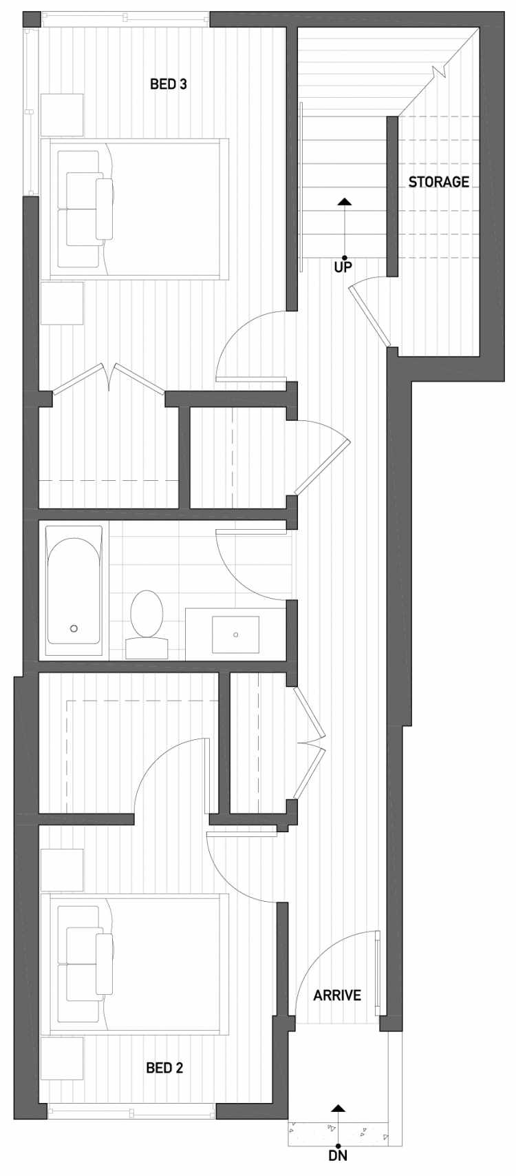 First Floor Plan of 2504 Everett Ave E of the Baymont Townhomes