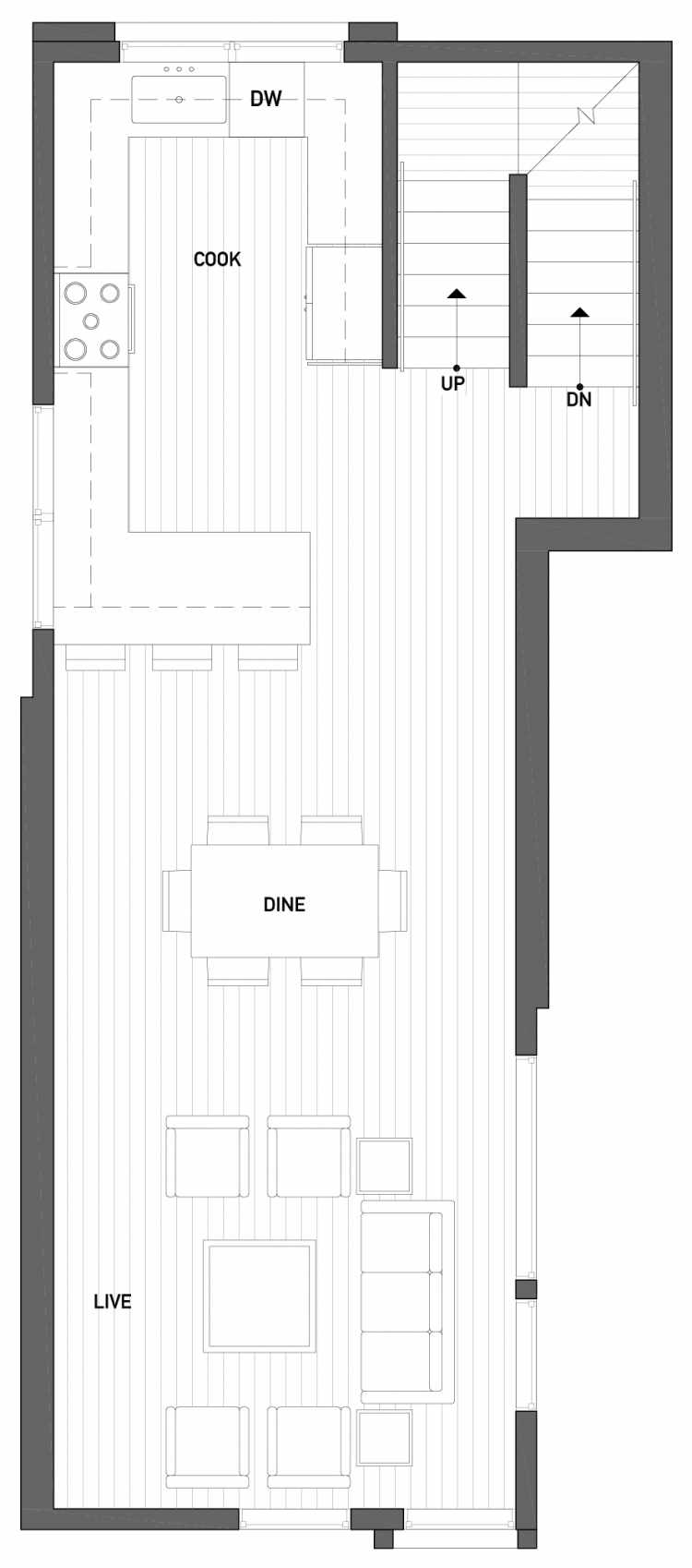 Second Floor Plan of 2504 Everett Ave E of the Baymont Townhomes