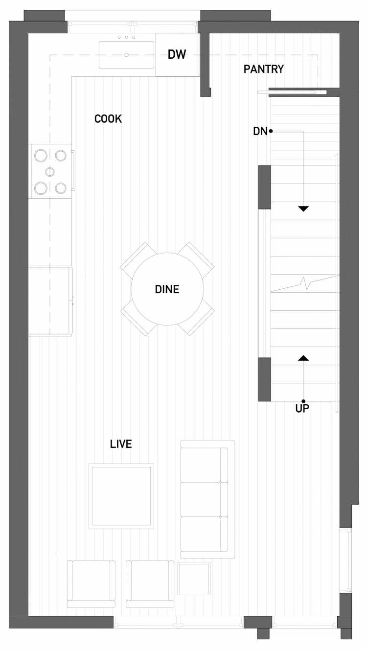 Second Floor Plan of 2506 Everett Ave E of the Baymont Townhomes