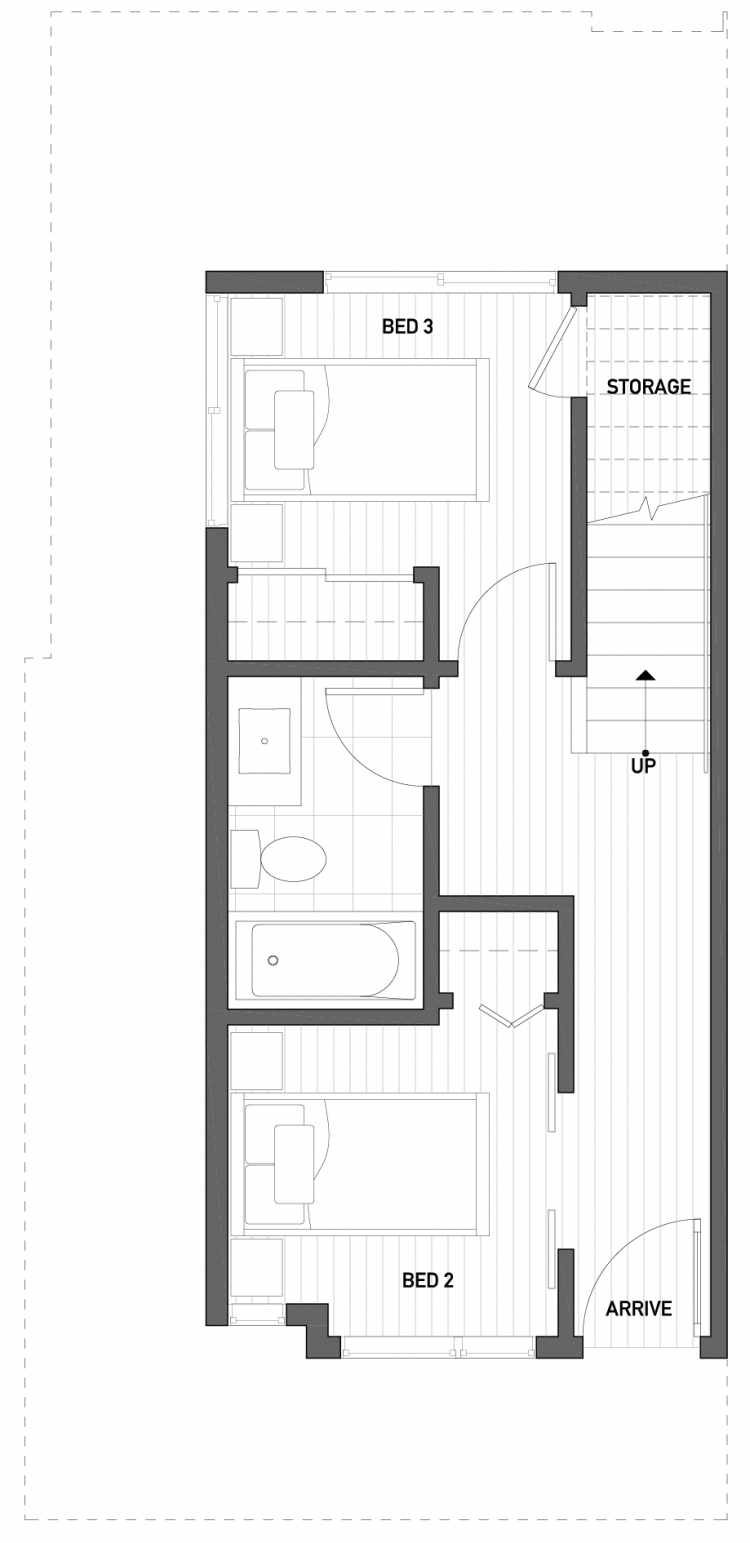 First Floor Plan of 2510 Everett Ave E of the Baymont Townhomes
