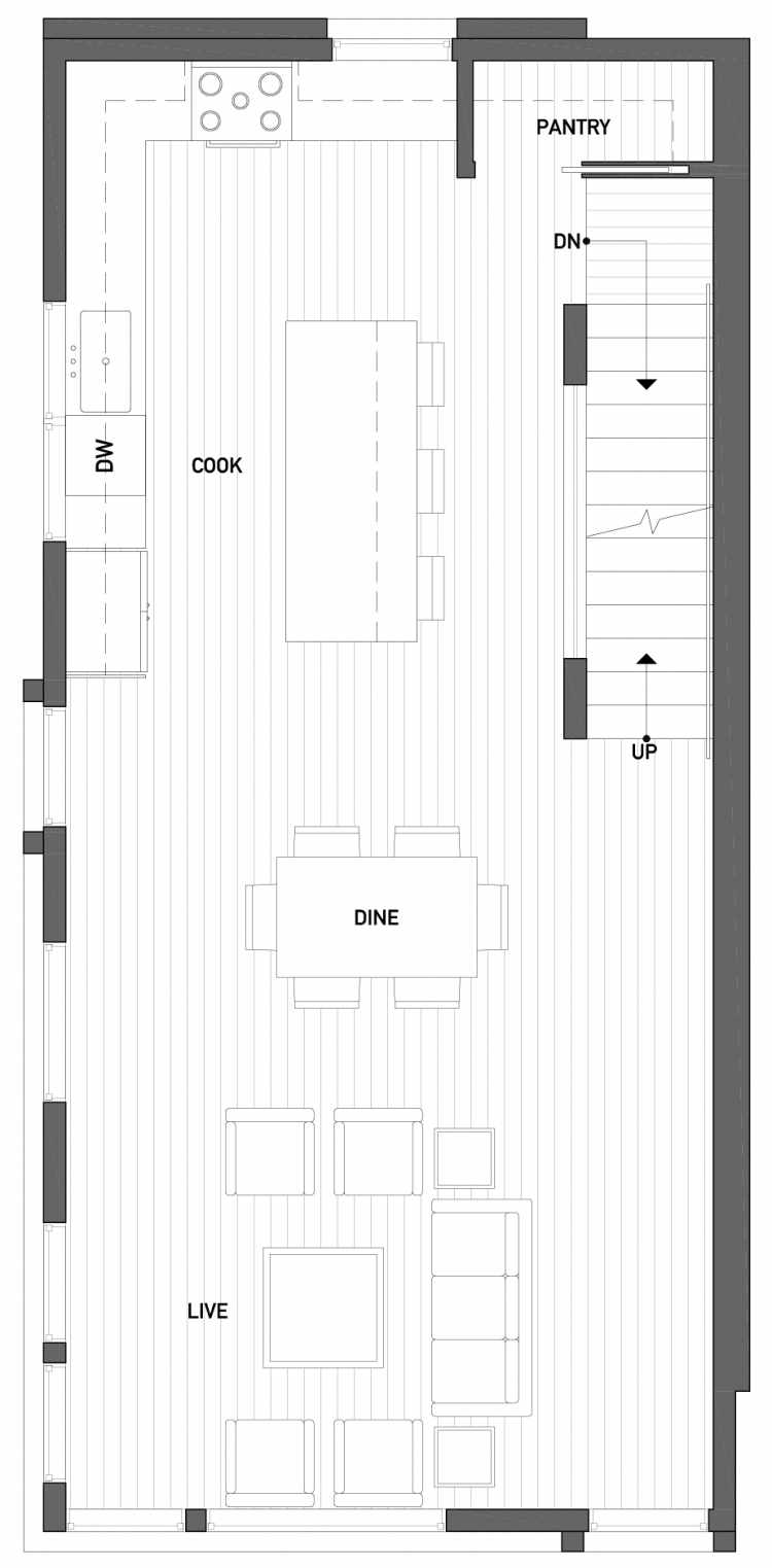 Second Floor Plan of 2510 Everett Ave E of the Baymont Townhomes