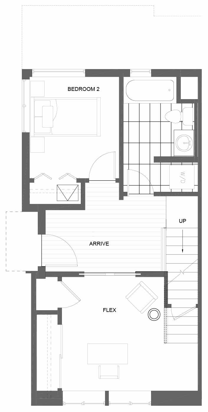 First Floor Plan of 3011A 30th Ave W, One of the Lochlan Townhomes by Isola Homes in Magnolia