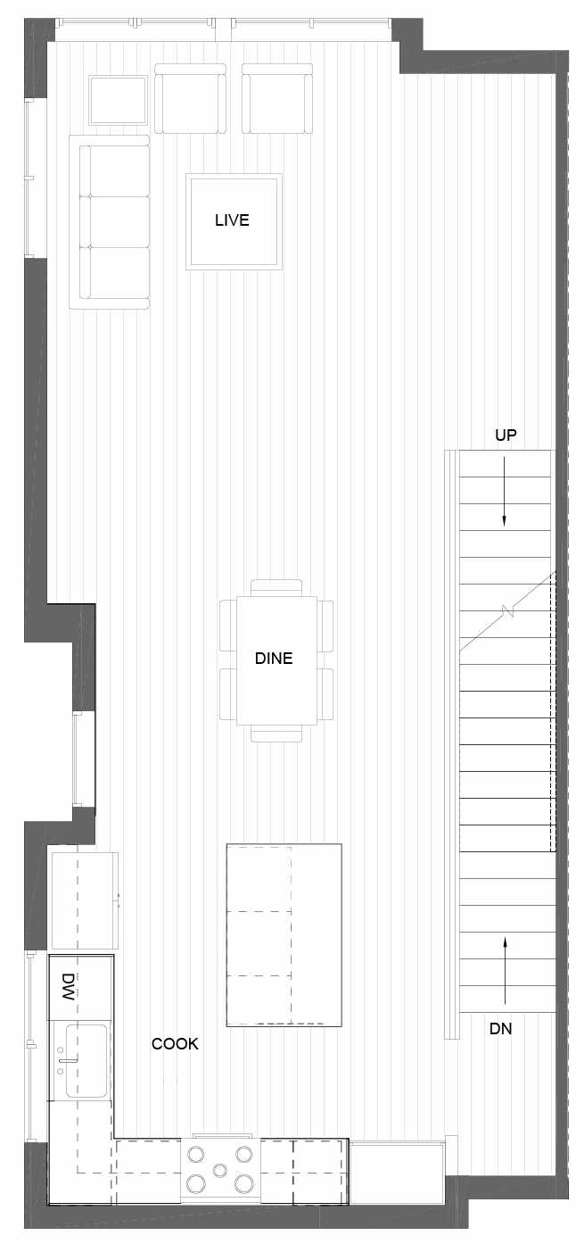 Second Floor Plan of 3011A 30th Ave W, One of the Lochlan Townhomes by Isola Homes in Magnolia