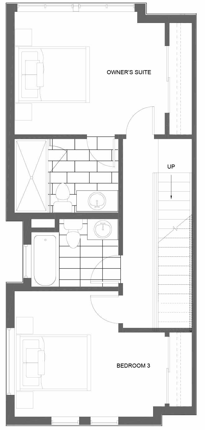 Third Floor Plan of 3011A 30th Ave W, One of the Lochlan Townhomes by Isola Homes in Magnolia