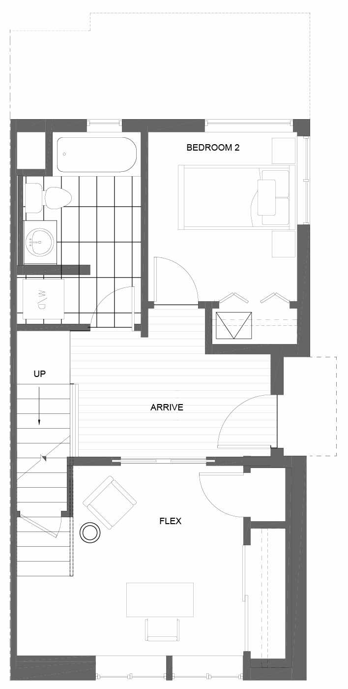 First Floor Plan of 3011B 30th Ave W, One of the Lochlan Townhomes by Isola Homes in Magnolia