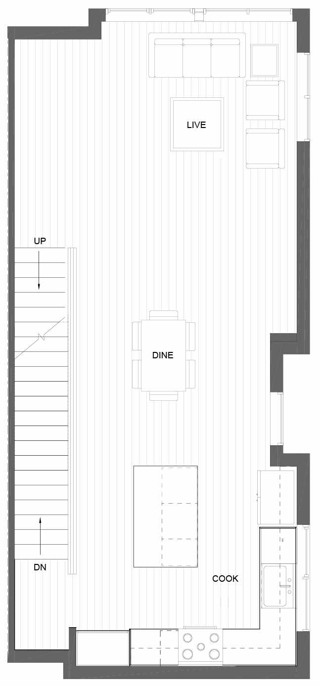 Second Floor Plan of 3011B 30th Ave W, One of the Lochlan Townhomes by Isola Homes in Magnolia