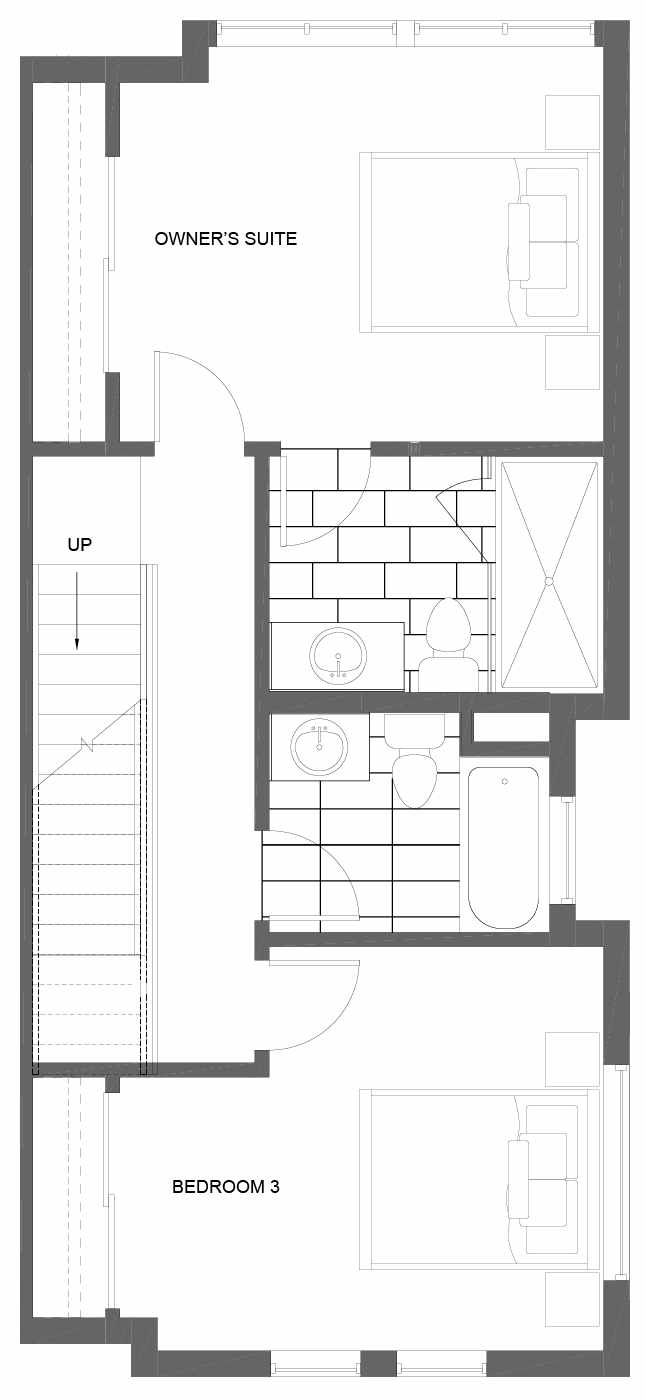 Third Floor Plan of 3011B 30th Ave W, One of the Lochlan Townhomes by Isola Homes in Magnolia