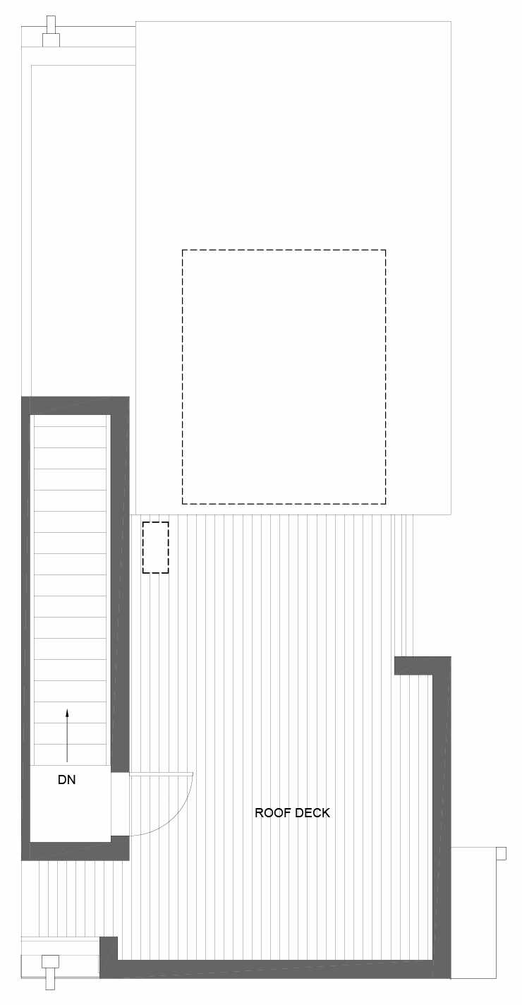 Roof Deck Floor Plan of 3011B 30th Ave W, One of the Lochlan Townhomes by Isola Homes in Magnolia