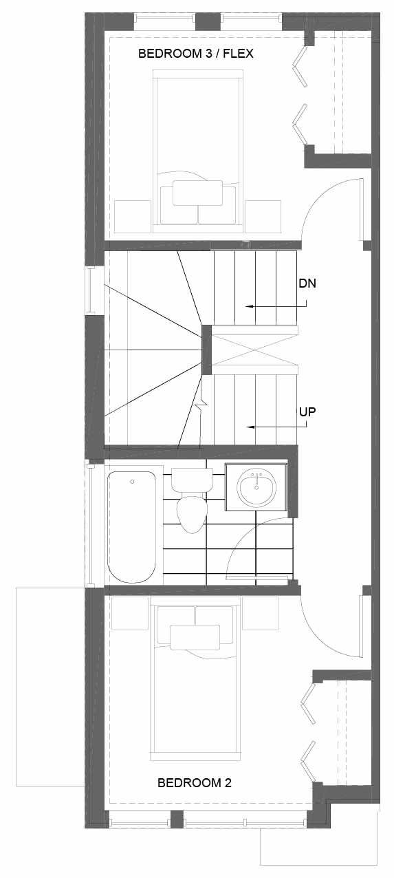 Second Floor Plan of 3015A 30th Ave W, One of the Lochlan Townhomes by Isola Homes in Magnolia
