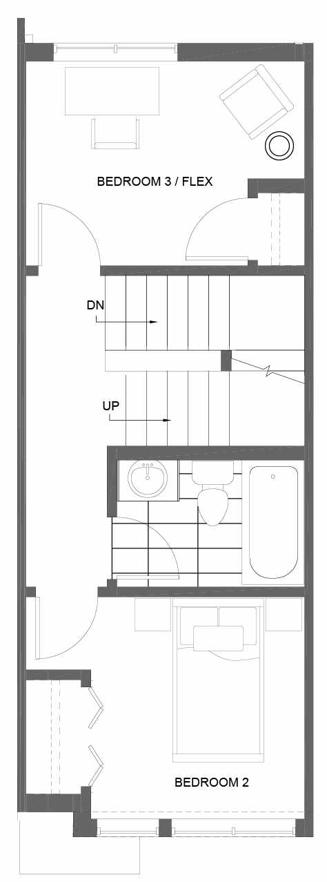 Second Floor Plan of 3015C 30th Ave W, One of the Lochlan Townhomes by Isola Homes in Magnolia