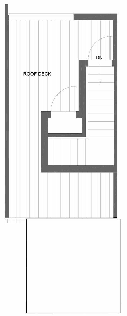 Roof Deck Floor Plan of 3015C 30th Ave W, One of the Lochlan Townhomes by Isola Homes in Magnolia