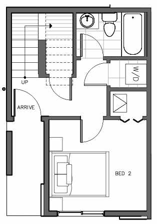 First Floor Plan of 321 Malden Ave E, One of the Mika Townhomes in Capitol Hill by Isola Homes