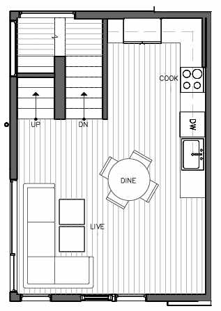 Second Floor Plan of 321 Malden Ave E, One of the Mika Townhomes in Capitol Hill by Isola Homes