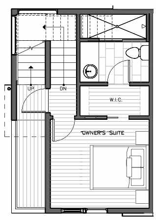 Third Floor Plan of 321 Malden Ave E, One of the Mika Townhomes in Capitol Hill by Isola Homes