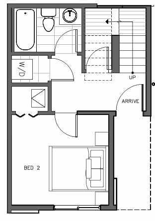 First Floor Plan of 323 Malden Ave E, One of the Mika Townhomes in Capitol Hill by Isola Homes
