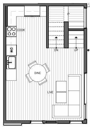 Second Floor Plan of 323 Malden Ave E, One of the Mika Townhomes in Capitol Hill by Isola Homes